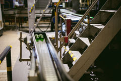 Öltillverkninglinje Utrustning för arrangerat buteljera för produktion av färdiga livsmedelsprodukter Metall strukturerar, rör oc royaltyfri foto