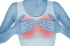 Öm bröst som visas rött, räckt uppehälle Arkivfoto