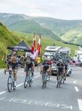 """Ömt ställe-moment för den Team Omega Pharmaâ €en """"- Tour de France 2014 Arkivbilder"""