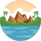 Ön för havet för ferie för sommarsemestern vaggar den tropiska med palmträdet och den plana vektorillustrationen Arkivfoto