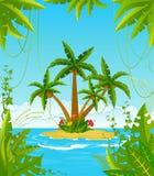 ön gömma i handflatan litet tropiskt Arkivbilder