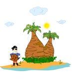 ön gömma i handflatan piratkopierar trees royaltyfri illustrationer