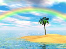 ön gömma i handflatan regnbågen Arkivbilder
