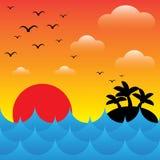 Ön i havet vinkar på den aftontid, solen, himmel och c Arkivbilder