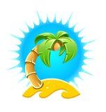 Ön med gömma i handflatan och sandpapprar stranden Royaltyfri Fotografi