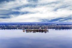 Ön på den Dnieper floden Kaniv ukraine Arkivfoton