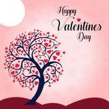 Önska dig en lycklig valentins illustration för vektor för bakgrund för träd för daghjärta royaltyfri illustrationer