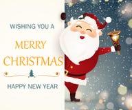 Önska dig glad jul lyckligt nytt år Le lyckliga Santa Claus Arkivfoto