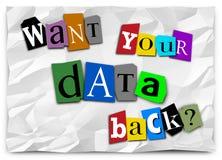 Önska din tillbaka lösenanmärkning hackade Ransomware 3d Illustratio för data Arkivfoto