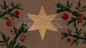 Önska för jul och för nytt år på en stjärna med julgranbakgrund stock illustrationer