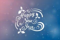 Önska för nytt år i ferie utformad prydnad över rosa färg- och blåttbakgrund med blury snöflingor vektor illustrationer
