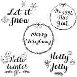 Önska för skriftlig jul för hand och för nytt år royaltyfri illustrationer