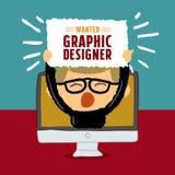 Önskad affisch för grafisk formgivare Arkivbild