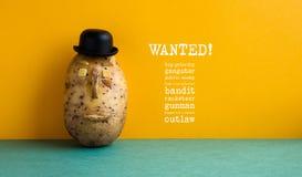 Önskad affisch för högsta prioritetpotatisgangster Gammalmodig vägg för guling för potatis för svart hatt för stilkastare, grönt  royaltyfri bild