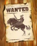 Önskad affisch med den amerikanska indiska konturn på hästrygg Vektor Illustrationer