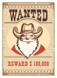 Önskad affisch Santa Claus i cowboyhatt på gammalt pappers- kort Fotografering för Bildbyråer