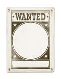 Önskad affisch som isoleras på vit Royaltyfria Foton