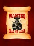 Önskad död eller vid liv cowboyaffischdesign Royaltyfri Bild