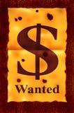 önskad dollaraffisch Arkivbilder