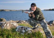 önskad fiska trofé Arkivbild