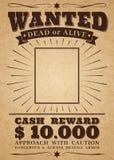 Önskad västra affisch för tappning Död eller vid liv brotts- fredlös Önskat för retro baner för belöningvektor stock illustrationer