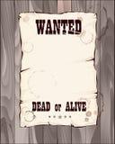 önskad vid liv död affisch Royaltyfri Illustrationer