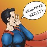 Önskade volontärer! Tecknad filmvektorillustration. Royaltyfri Fotografi