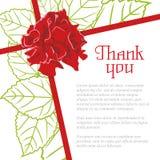 Önskaen tackar dig med en ros och ett blad Arkivfoto