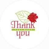 Önskaen tackar dig med en ros och ett blad Royaltyfria Bilder