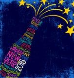Önskar skriftligt lyckligt nytt år 2016 för handen i champagneflaska Royaltyfri Foto