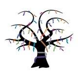 Önskaträd med färgrika band Arkivbild