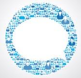 Öppen anförandebubbla för socialt nätverk Arkivbild