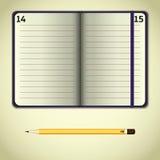 Öppen anteckningsbok för Violet Arkivfoto