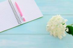 Öppen anteckningsbok med den rosa färgpennan, coffeecup och vanliga hortensian Royaltyfria Bilder