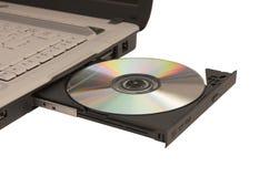öppen bärbar dator för cd drev Fotografering för Bildbyråer