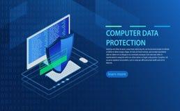 Öppen bärbar dator med bemyndigandeformen på skärmen, personligt dataskydd vektor illustrationer