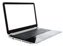 Öppen bärbar dator med för snitt den isolerade skärmen ut Royaltyfri Bild