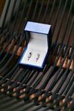 Öppen blå ask för smycken Liten miniatyrtappning för att hålla smycken liksom halsbandet, cirklar eller örhängen royaltyfri fotografi