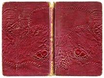 Öppen bok eller anteckningsbok - söndersliten tappningräkning med konstgjort ödlaläder Arkivbilder