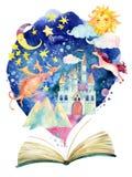 Öppen bok för vattenfärg med det magiska molnet stock illustrationer