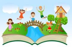 Öppen bok med barn och sommarlandskap Arkivbilder