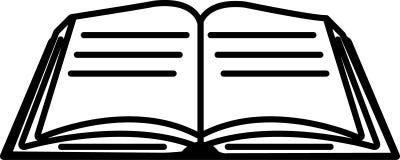 Öppen bok med den redigerbara vektorn för plan sidasymbol i svart färg Vektor Illustrationer