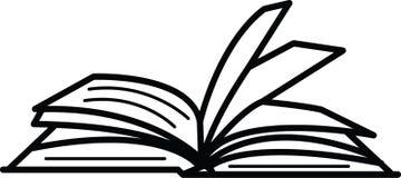 Öppen bok med den rufsade redigerbara vektorn för sidasymbol i svart färg Vektor Illustrationer