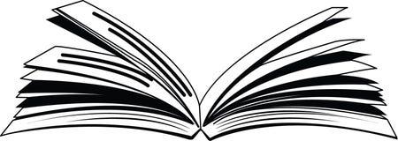 Öppen bok med den rufsade resizable redigerbara vektorn för sidasymbol i svart färg Vektor Illustrationer