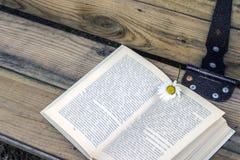 Öppen bok med en bokmärke - en tusenskönablomma royaltyfria foton
