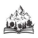 Öppen bok med skogen och berg stock illustrationer