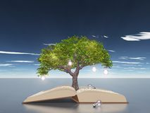 Öppen bok med trädet för ljus kula royaltyfri illustrationer