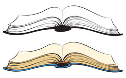 öppen bok Vektorn skissar vektor illustrationer