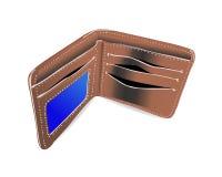 Öppen brun plånbok Arkivbild