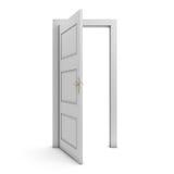 Öppen dörr som isoleras på vit royaltyfri illustrationer
